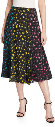 Alice + Olivia Janessa Combo High-Slit Skirt