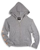 Monrow Girl's Zip-Front Heathered Hoodie
