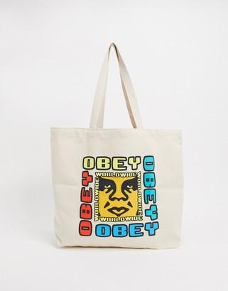 Obey defiant tote bag in beige