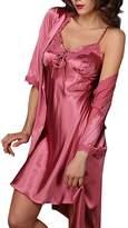 Aivtalk Women's Half Sleeve Satin Pajama Set 2 Piece Robe and Nightgown Set - XL
