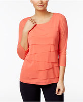 Alfani Petite Tiered-Mesh Illusion-Sleeve Top, Only at Macy's