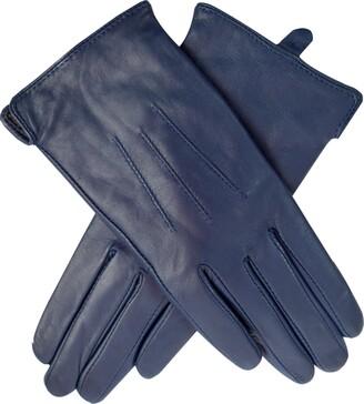 Jasmine Silk Ladies Luxury Genuine Lambskin Leather Cashmere Lined Gloves NAVY (Large)