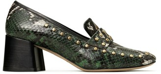 Tory Burch Embellished Snake-Print Leather Heeled Loafers