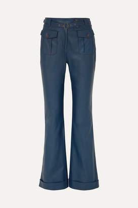 Sies Marjan Nola Belted Leather Flared Pants - Navy