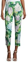 Dolce & Gabbana Hydrangea Brocade Cropped Straight-Leg Pants, Green