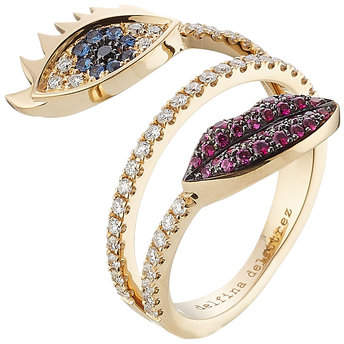 Delfina Delettrez 18kt White Gold Ring with Diamonds, Rubies and Sapphires