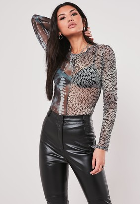Missguided Blue Mesh Mix Print Round Neck Top