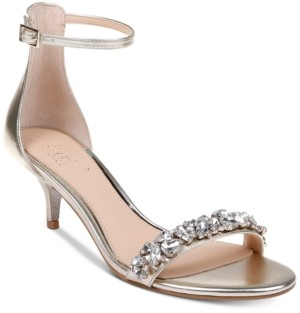 Badgley Mischka Dash Kitten-Heel Evening Sandals Women's Shoes