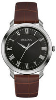 Bulova Classic Stainless Steel Brown Leather Strap Watch, 96A184