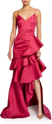 Flor et.al Oates Duchess Tiered Ruffle Satin Cami Gown