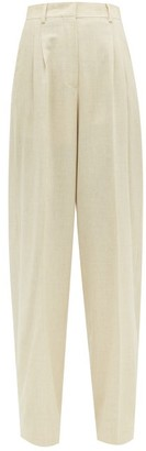 Fendi High Rise Wool Blend Wide Leg Trousers - Womens - Beige