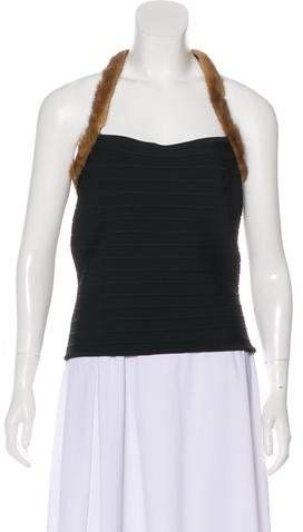 Herve Leger Mink-Trimmed Sleeveless Top w/ Tags