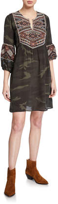 Johnny Was Plus Size Molly Jo Paris Silk Camo Dress with Embroidery