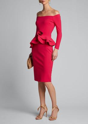 Chiara Boni Rosette Peplum Off-the-Shoulder Dress