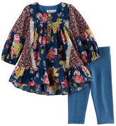Bonnie Jean Baby Girl Floral Woven Top & Striped Leggings Set