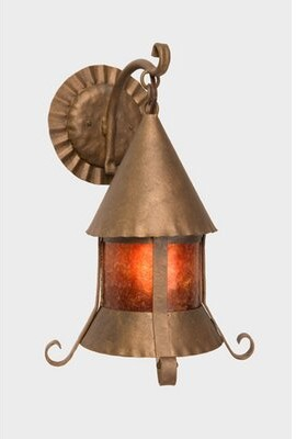 Mica Sonoma 1-Light Outdoor Wall Lantern Steel Partners Finish: Rust, Shade Color: Amber