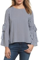 Velvet by Graham & Spencer Women's Stripe Tie Bell Sleeve Blouse