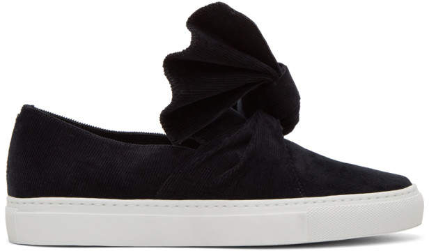Cédric Charlier Black Corduroy Bow Slip-On Sneakers