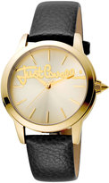 Just Cavalli 36mm Logo Watch w/ Leather Strap, Gold