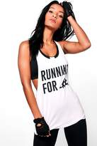 boohoo Katie Pizza Slogan Running Vest white