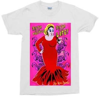 """Flamingos Sina Sparrow - Filth Is My Life"""" Divine Pink White Cotton Tee - Size S   cotton   white - White/White"""