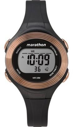 Timex Marathon By Marathon by Women's Digital 34mm Black/Rose Gold-Tone Watch, Resin Strap