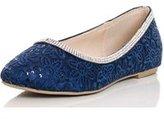 Dorothy Perkins Womens *Quiz Blue Lace Diamante Trim Pumps- Blue