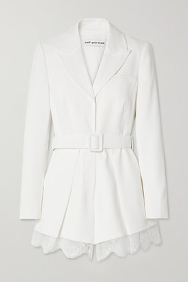 Self-Portrait Lace And Satin-trimmed Crepe Playsuit - Ivory