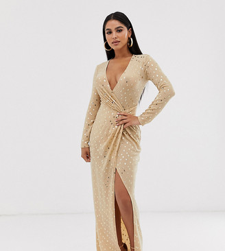 Flounce London Petite sequin stretch maxi dress in gold