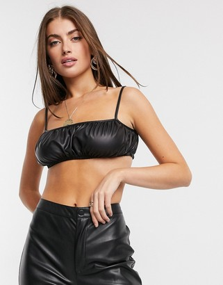 ASOS DESIGN ruched leather look crop top in black