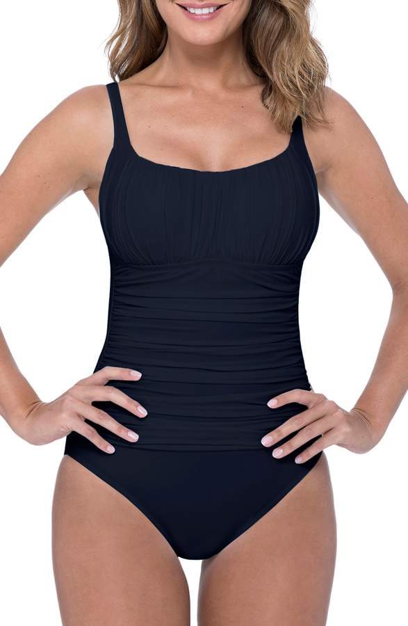 1ed3e28a042 Shirred One Piece Swimsuit - ShopStyle