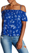 Lily White Print Cold Shoulder Tee