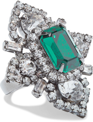 Elizabeth Cole Eden Hematite-plated, Swarovski Crystal And Stone Ring