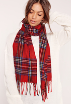 Missguided Check School Scarf Red