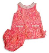 Lilly Pulitzer Baby's Vintage Dobby Flamingo Shift Dress & Bloomers Set
