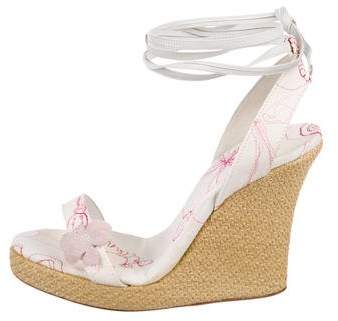 John Galliano Floral Wrap-Around Espadrilles
