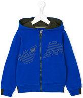 Armani Junior logo hooded zip jacket