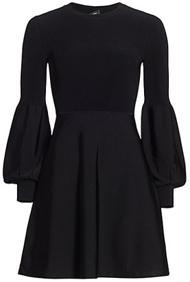 Theory Blouson-Sleeve A-Line Dress
