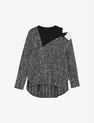 Maje Laco trompe l'oeil long-sleeved tweed top