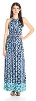 London Times Women's Ikat Stripe Halter Maxi