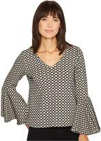 Karen Kane Jacquard Bell Sleeve Top Women's Clothing