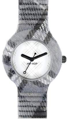 Hip Hop HWU0380 Tartan GLASGLOW Gray Rubber 30 m Analog Clock Plastic Grey