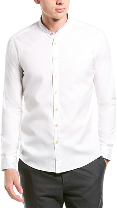 Ron Tomson Banded Collar Tailored Fit Dress Shirt