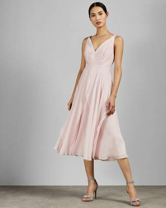 Ted Baker V Neck Georgette Midi Dress