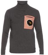 Fendi Shearling-pocket Roll-neck Wool Sweater