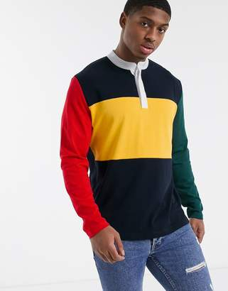 Asos DESIGN relaxed long sleeve t-shirt with woven granded neck in color block