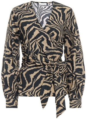 Ganni Zebra-print cotton-poplin top