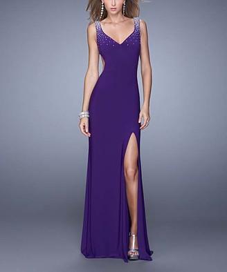 La Femme Women's Special Occasion Dresses Royal - Royal Purple Rhinestone-Shoulder Side-Slit V-Neck Gown - Women