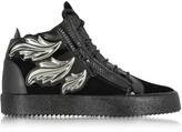 Giuseppe Zanotti Black Velvet and Leather High Top Sneaker