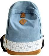 Leegor, Fashion Lace Denim Women Canvas Backpack Schoolbag